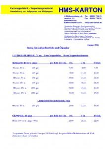 thumbnail of Preisliste Luftpolsterfolie+Ölpapier Januar 2016